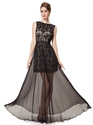 Black Lace Sleeveless Open Back Prom Dress With Sheer Chiffon Overlay