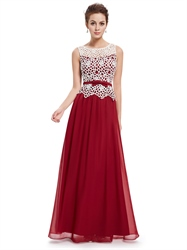 Burgundy Sheer Illusion Neckline Lace Bodice Chiffon Prom Dress