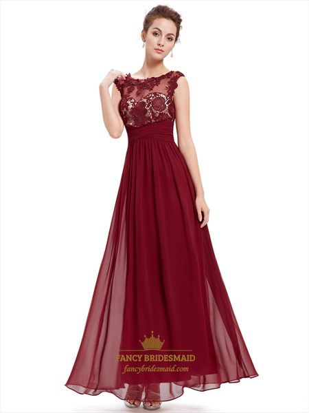Burgundy Lace Bodice Scoop Neck Chiffon Prom Dress With Cap Sleeves