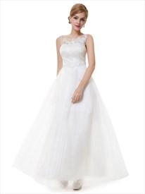Ivory Lace Bodice Scoop Neck Chiffon Prom Dress Embellished Neckline