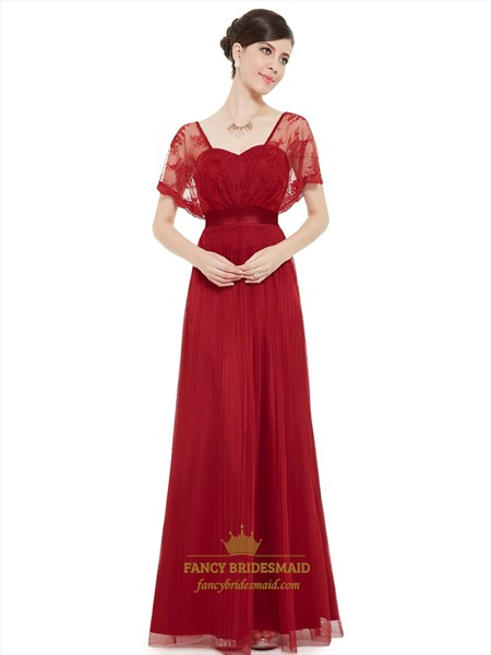 Burgundy Chiffon Bridesmaid Dresses With Sheer Lace Flutter Sleeves