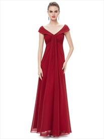 Burgundy Flowy Chiffon Off The Shoulder Empire Waist Bridesmaid Dresses