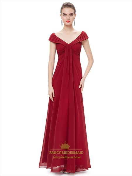 Burgundy Flowy Chiffon Off The Shoulder Empire Waist Bridesmaid Dresses