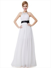 White Halter Neck Beaded Chiffon Bridesmaid Dress With Black Flower Sash