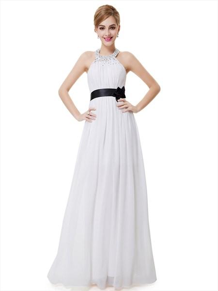 White Halter Neck Beaded Chiffon Bridesmaid Dress With Black Flower Sash