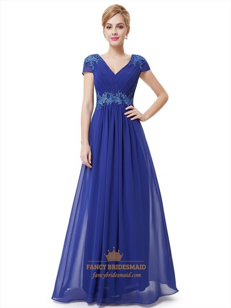 Royal Blue Cap Sleeve Chiffon Prom Dress With Applique Embellishment