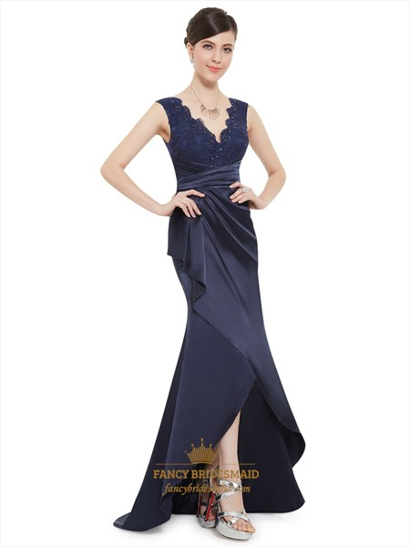 Navy Blue Mermaid Lace Bodice High Low Prom Dress With Cascade Drape