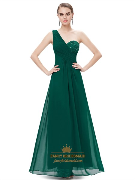 Emerald Green One Shoulder Chiffon Bridesmaid Dresses With Lace Bodice