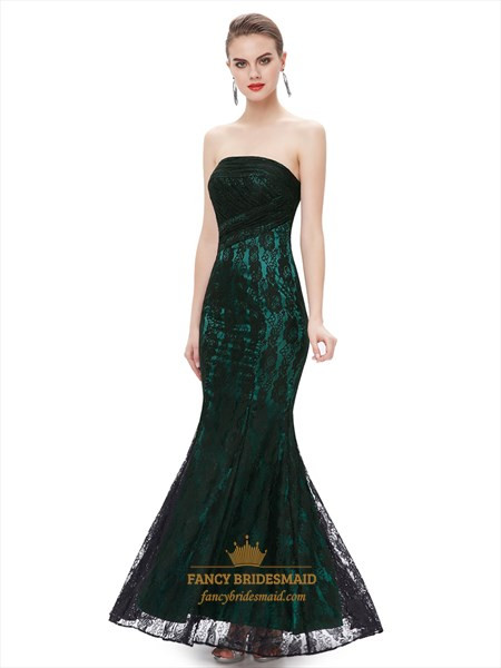 Black And Green Strapless Mermaid Prom Dresses With Lace Overlay