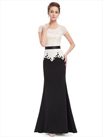 Champagne And Black Mermaid Lace Top Prom Dresses With Applique Detail