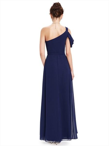 Navy Blue One Shoulder Chiffon Long Bridesmaid Dress With Beaded Waist