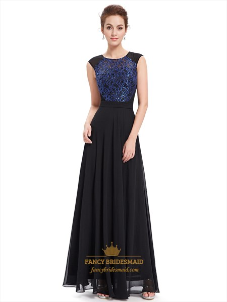 Black Chiffon Sleeveless Illusion Neckline Prom Dress With Lace Bodice
