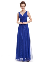 Royal Blue V Neck Sleeveless Lace Evening Dresses With Tulle Overlay