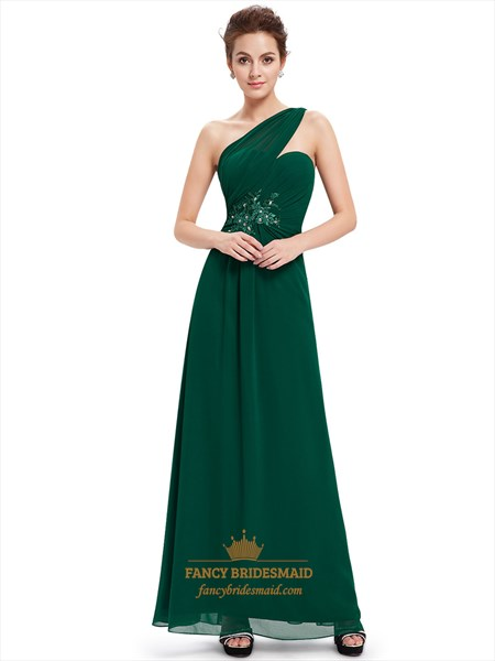 Emerald Green One Shoulder Chiffon Prom Dress With Floral Appliques