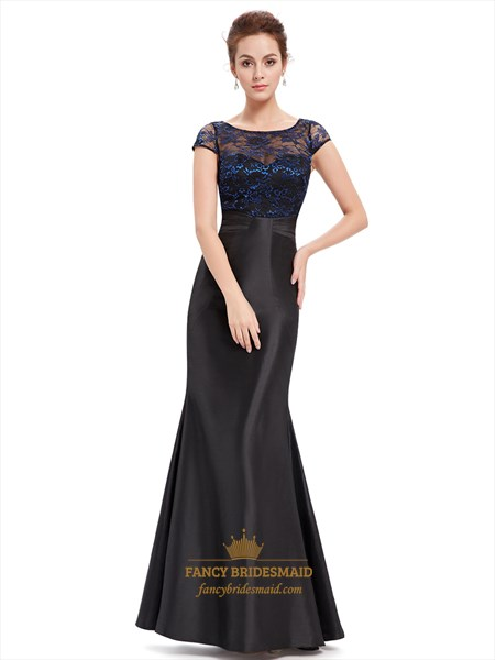 Black Mermaid Lace Bodice Illusion Neckline Prom Dress With Cap Sleeves