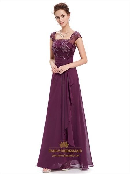 Grape Lace Bodice Cap Sleeves Chiffon Prom Dress With Front Cascade