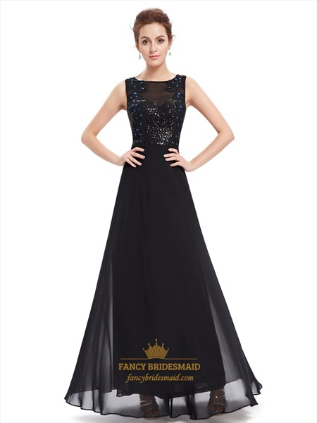 Black Chiffon Open Back Sequin Bodice Prom Dress With Beaded Detail