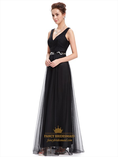 Black Tulle V Neck Sleeveless Floor Length Prom Dress With Sequin Trim