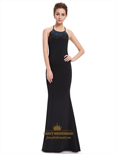 Black Long Prom Dress With Mermaid Skirt And Backless Beaded Detail