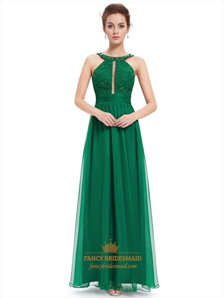 Green Lace Bodice Sleeveless Chiffon Prom Dress With Jewelled Neckline