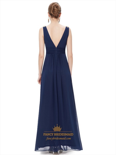 Navy Blue Contrast V Neck Chiffon Prom Dress With Beaded Straps