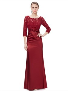 Red Lace Bodice Mother Of The Bride Dress With 3/4 Length Sleeves