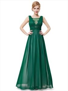 Elegant Emerald Green Sleeveless Chiffon Prom Dresses With Lace Trim