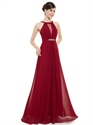 Burgundy Jewelled Neckline Chiffon Prom Dress With Beaded Detail