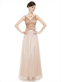 Champagne Spaghetti Strap V Neck Tulle Prom Dress With Beaded Detail