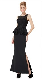 Black Mermaid Two Tone Peplum Prom Dress With Slits On The Side
