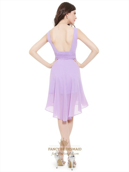 Lilac V-Neck Sleeveless Knee-Length Chiffon Bridesmaid Dresses