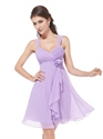 Lilac Chiffon Empire Knee Length Bridesmaid Dresses With Flower Detail