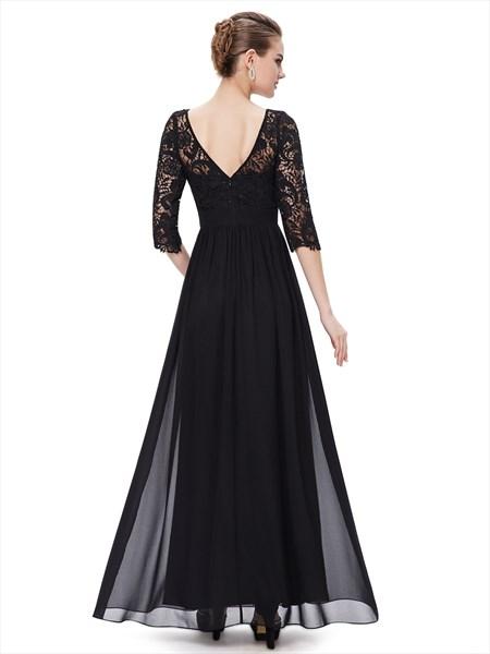 Elegant Black Lace Bodice Chiffon Prom Dress With 3/4 Length Sleeves