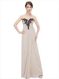 Champagne Strapless Sweetheart Chiffon Prom Dress With Applique Neckline