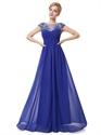 Royal Blue Cap Sleeves Chiffon Evening Dress With Illusion Neckline