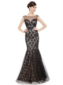 Black Illusion Neckline Mermaid Lace Prom Dress With Cap Sleeves