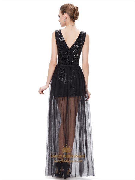 Black Contrast V Neck Sequin Prom Dress With Detachable Tulle Skirts