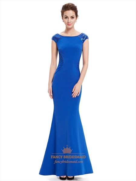 Royal Blue Scoop Neck Mermaid Cap Sleeve Prom Dress With Sequin Trim