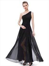Black Chiffon One Shoulder Floor-Length Bridesmaid Dresses With Split