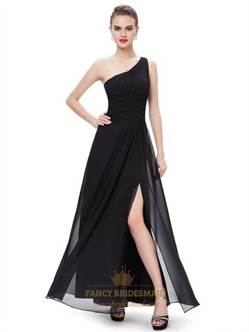 Black Chiffon One Shoulder Floor Length Bridesmaid Dresses With