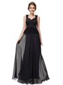 Black Chiffon Embellished Two Tone Prom Dress With Sheer Lace Back