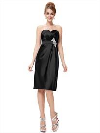 Black Sweetheart Neckline Knee Length Cocktail Dress With Beaded Waist