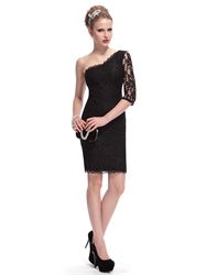Black Lace One Shoulder Sheath Short Cocktail Dress With Half Sleeve