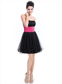 Black And Hot Pink Strapless Organza Homecoming Dress With Beaded Waist