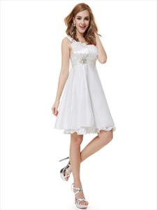 Ivory One Shoulder Knee Length Bridesmaid Dresses With Beaded Detail