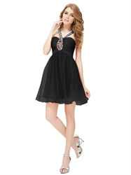 Black Chiffon Keyhole Neckline Homecoming Dress With Beaded Straps