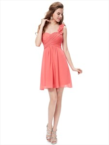 Coral Chiffon One Shoulder Short Bridesmaid Dress With Petal Detail