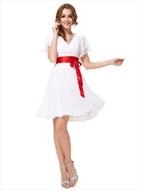 White V Neck Chiffon Flutter Sleeves Bridesmaid Dresses With Red Sash