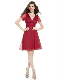Burgundy Chiffon V-Neck Knee-Length Bridesmaid Dress With Beaded Detail