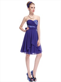 Royal Blue Chiffon Sweetheart Bridesmaid Dresses With Floral Print